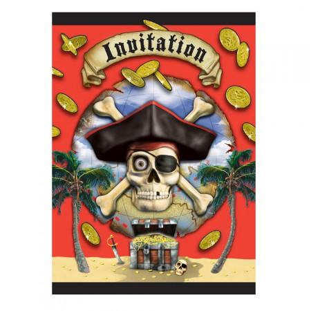 Piratenparty-Einladung mit Totenkopf