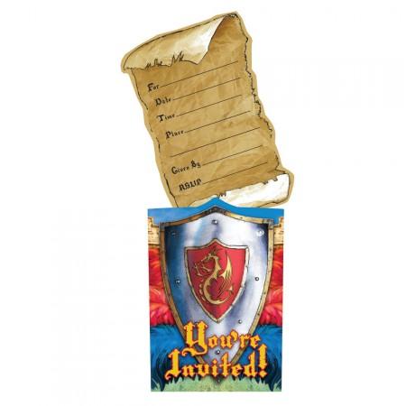 Kindergeburtstag Ritter-Einladungskarte mit Schild