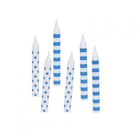 Geburtstagskerzen mit blauen Punkten und Streifen