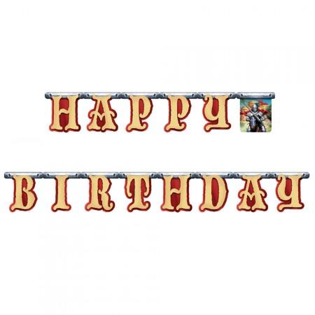 Happy Birthday Girlande im Ritter-Design