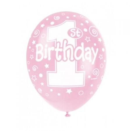 Rosafarbener Luftballon mit 1. Geburtstag-Aufschrift