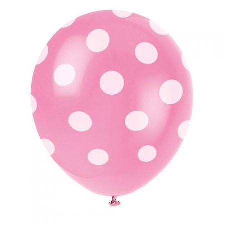 Rosafarbene Luftballons mit weißen Punkten