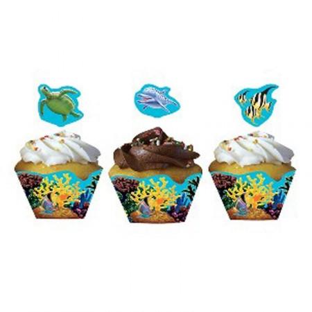 Muffin-Banderolen und Picker mit Delfin-Motiv