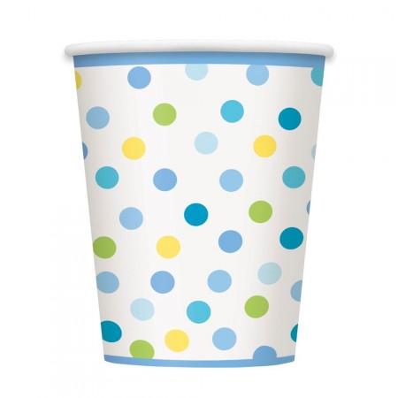 Pappbecher in Blau mit bunten Punkten
