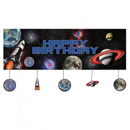 Riesen-Dekobanner mit Planeten für die Weltraumparty