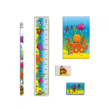 Schreibset mit Bleistift, Radierer, Spitzer, Lineal und Block