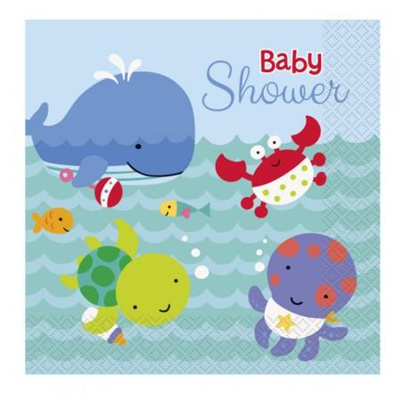 Papier-Servietten für Babyparty mit Unterwasser-Motiven