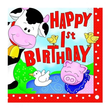 Servietten Fur Den 1 Geburtstag Mit Bauernhof Tieren