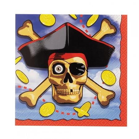 Piratenparty-Servietten mit Totenkopf