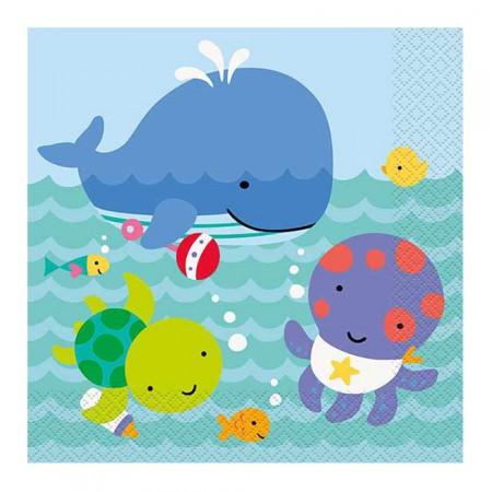 Papier-Servietten mit Unterwasser-Motiven
