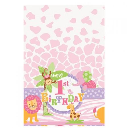 Kunststoff-Tischdecke für 1. Geburtstag mit Safari-Tieren in Rosa