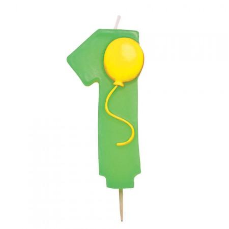 Grüne Eins als Kerze mit Ballon-Motiv