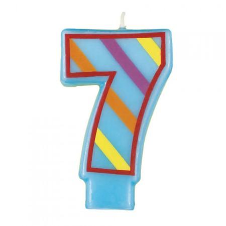 Zahlenkerze 7 in Hellblau mit Streifen