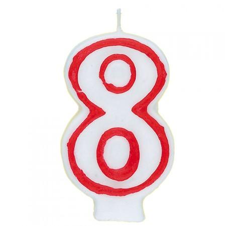 Zahl 8 als Geburtstagskerze