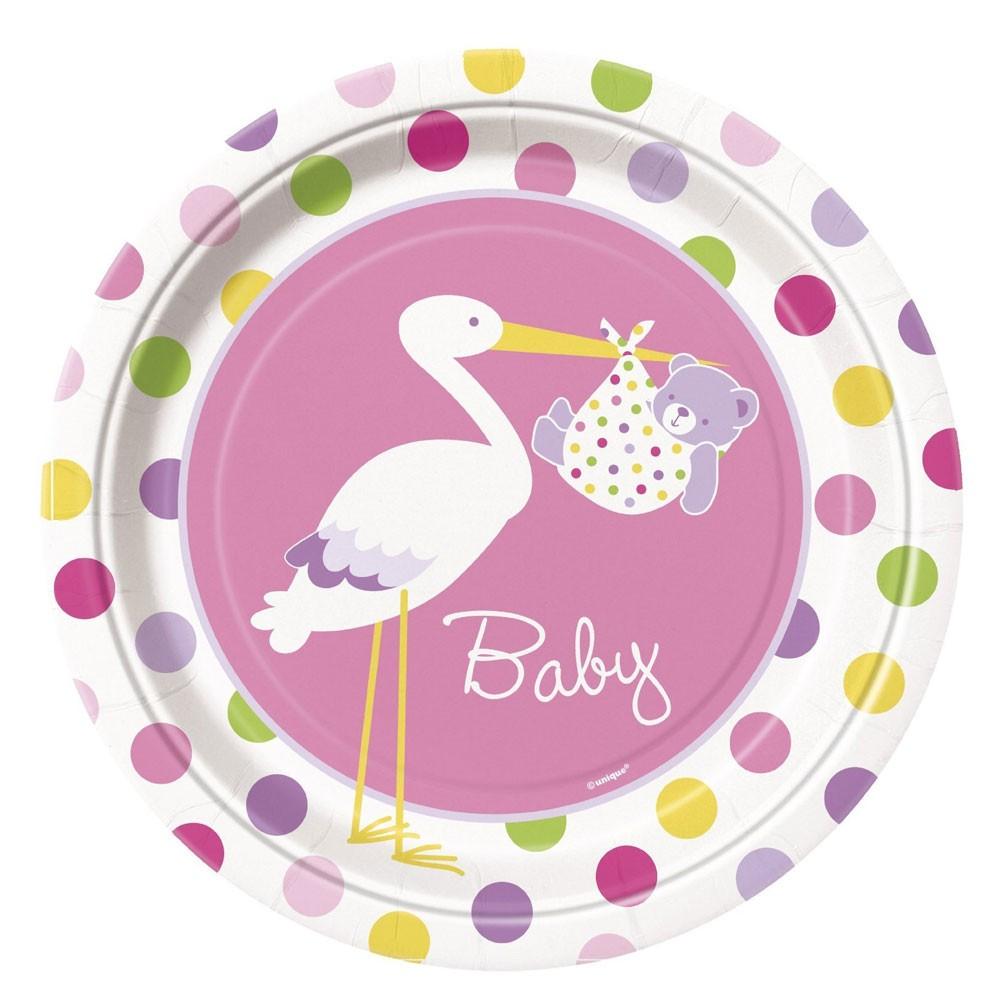 Babyparty Pappteller Mit Rosafarbenem Storch