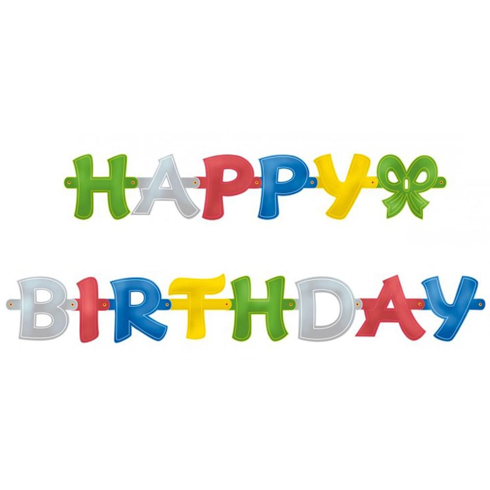 Happy Birthday Girlande mit Schleife