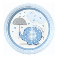 Pappteller mit blauem Elefanten