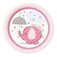 Pappteller mit rosafarbenem Elefanten