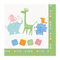 Servietten für die Baby Shower mit kleinen Zoo-Tieren