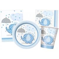 Blaues Babyparty-Set mit kleinem Elefanten