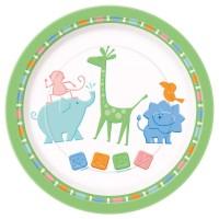 Baby Shower Pappteller mit kleinen Zoo-Tieren