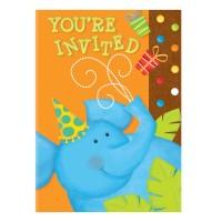 Geburtstags-Einladungskarten mit blauem Elefanten
