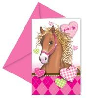 Kindergeburtstag-Einladungskarte mit Pferde-Motiv