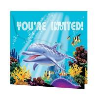 Kindergeburtstags-Einladung mit Meerestieren