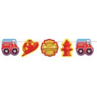 Kinderparty-Girlande mit Feuerwehr-Applikationen