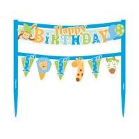 Torten-Girlande für 1. Geburtstag mit Safari-Tieren in Blau