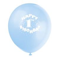 Hellblauer Luftballon mit 1. Geburtstag-Aufschrift