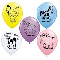 Bunte Luftballons mit Bauernhof-Tieren