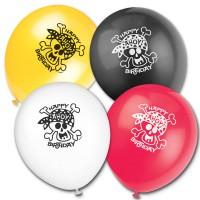 Bunte Luftballons mit Totenkopf-Motiv