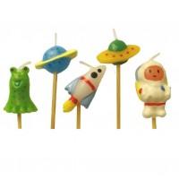 Minikerzen mit Weltraum-Figuren