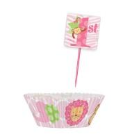 Muffinförmchen und Muffinpicker für 1. Geburtstag in Rosa