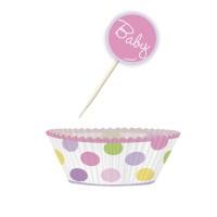 Muffinset für Babyparty in Rosa