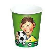 Pappbecher mit kleinem Fußballspieler