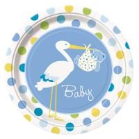 Pappteller mit Storch und Baby in Blau