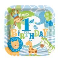 Eckiger Pappteller für 1. Geburtstag mit Safari-Tieren in Blau