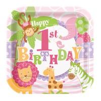 Eckiger Pappteller für 1. Geburtstag mit Safari-Tieren in Rosa