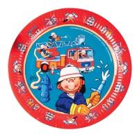 Pappteller mit kleinem Feuerwehrmann