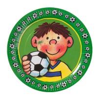 Pappteller mit kleinem Fußballspieler