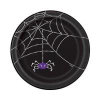Schwarze Pappteller mit Spinnen-Motiv