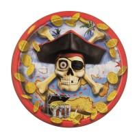 Piratenparty-Pappteller mit Totenkopf