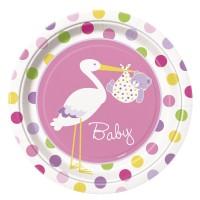 Pappteller mit Storch und Baby in Rosa