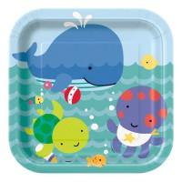 Pappteller mit Unterwasser-Motiven