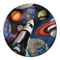 Kindergeburtstag-Pappteller mit Weltraum-Motiv