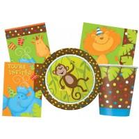 Kindergeburtstag-Zubehör mit Dschungel-Tieren