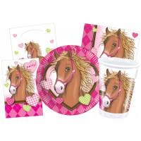 Kinderparty-Set mit pinkfarbenem Pferde-Motiv