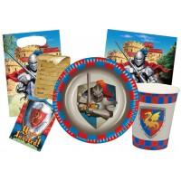 Kindergeburtstag-Zubehör mit Ritter-Motiv